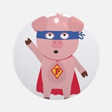Superhero Pig Round Ornament