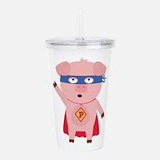 Superhero Pig Acrylic Double-wall Tumbler