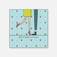 "Fancy Mr. and Mrs. Love Hea Square Sticker 3"" x 3"""