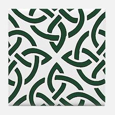 Green Trinity Knot Tile Coaster