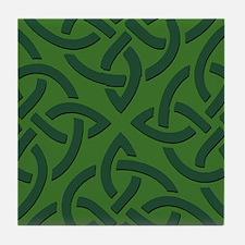 Green on Green Trinity Knot Tile Coaster