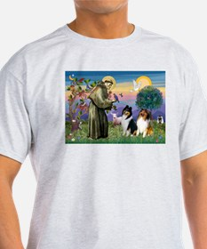 St Francis & Collie Pair Ash Grey T-Shirt