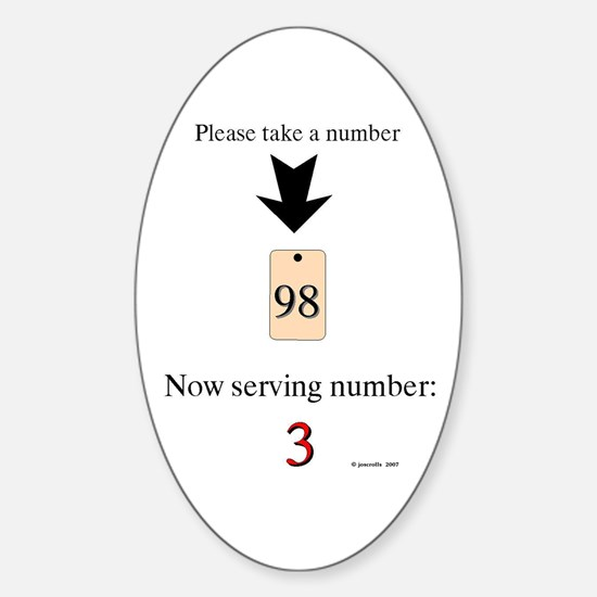 Take a number Oval Decal