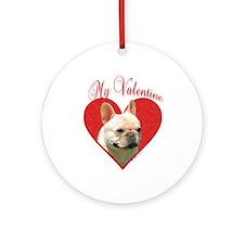 Frenchie Valentine Ornament (Round)