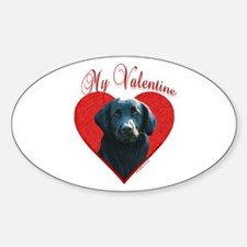 Flat-Coat(blk)Valentine Oval Decal