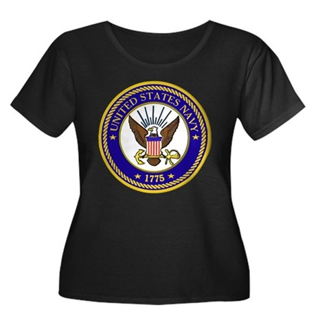 US Navy Emblem Women's Plus Size Scoop Neck Dark T