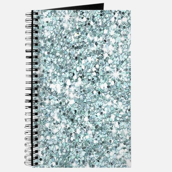 Silver Blue Glitter Journal