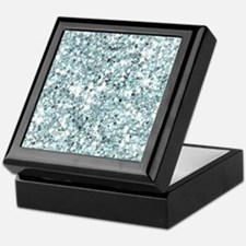 Silver Blue Glitter Keepsake Box