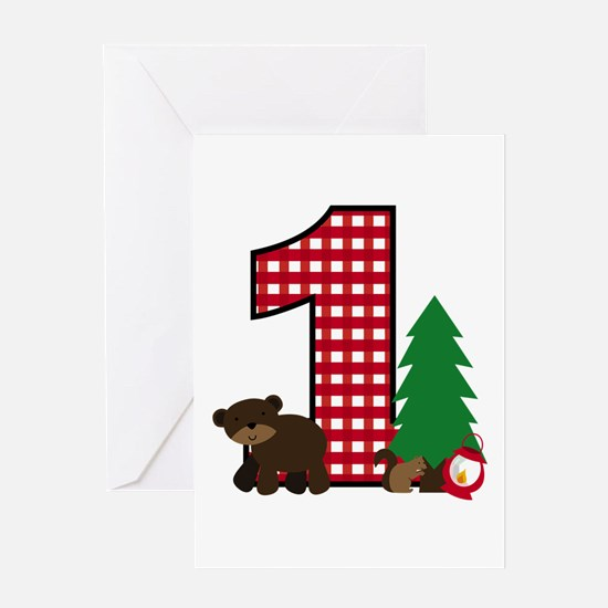 Woodland 1st Birthday Greeting Cards