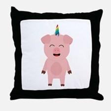 Pig with Unicorn Horn Throw Pillow
