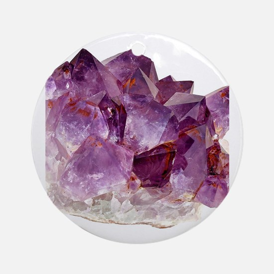 Unique Amethyst crystal gemstone Round Ornament