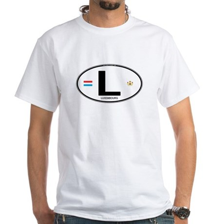 Luxembourg Euro Oval White T-Shirt