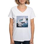 White Trumpeter Pigeons Women's V-Neck T-Shirt
