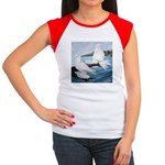 White Trumpeter Pigeons Women's Cap Sleeve T-Shirt