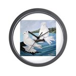 White Trumpeter Pigeons Wall Clock