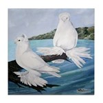 White Trumpeter Pigeons Tile Coaster