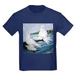 White Trumpeter Pigeons Kids Dark T-Shirt