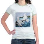 White Trumpeter Pigeons Jr. Ringer T-Shirt