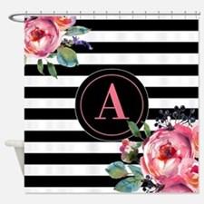 Black Stripe Floral Monogram Shower Curtain