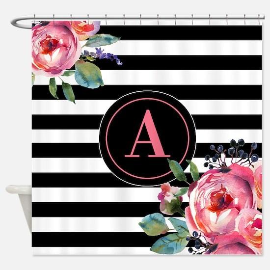 Black Stripe Floral Monogram Shower Curtain