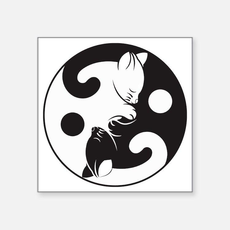 """Cute Zen cat Square Sticker 3"""" x 3"""""""