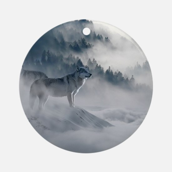 Snow Wolves In Mtns Round Ornament