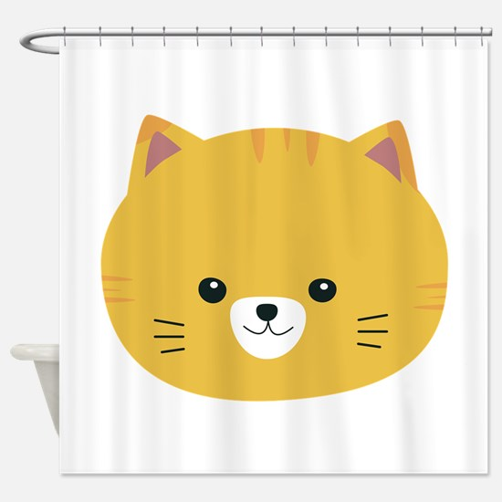 Cute tiger cat with yellow fur Shower Curtain