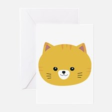 Cute tiger cat with yellow fur Greeting Cards