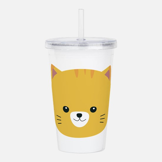 Cute tiger cat with ye Acrylic Double-wall Tumbler