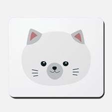 Cute white kitty with gray ears Mousepad