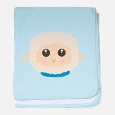 Cute little sheep with blue collar baby blanket