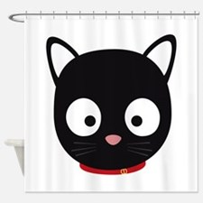 Cute black cat with red collar Shower Curtain