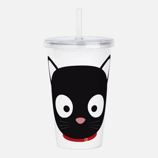 Cute black cat with re Acrylic Double-wall Tumbler