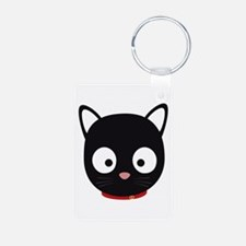 Cute black cat with red collar Keychains