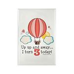Third 3rd Birthday Hot Air Balloon Rectangle Magne