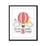 Third 3rd Birthday Hot Air Balloon Framed Panel Pr