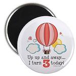 Third 3rd Birthday Hot Air Balloon Magnet