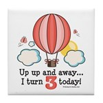 Third 3rd Birthday Hot Air Balloon Tile Coaster