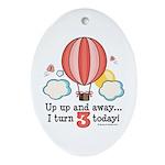 Third 3rd Birthday Hot Air Balloon Oval Ornament