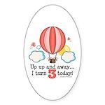 Third 3rd Birthday Hot Air Balloon Oval Sticker