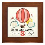 Third 3rd Birthday Hot Air Balloon Framed Tile