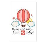 Third 3rd Birthday Hot Air Balloon Postcards (Pack