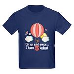 Third 3rd Birthday Hot Air Balloon Kids Dark T-Shi