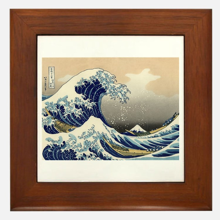 The Great Wave by Hokusai Framed Tile