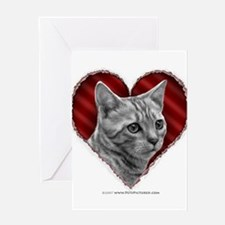 Bengal Cat Heart Greeting Cards