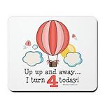 Fourth 4th Birthday Hot Air Balloon Mousepad