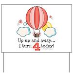 Fourth 4th Birthday Hot Air Balloon Yard Sign