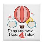 Fourth 4th Birthday Hot Air Balloon Tile Coaster