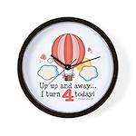 Fourth 4th Birthday Hot Air Balloon Wall Clock