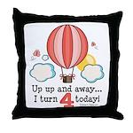 Fourth 4th Birthday Hot Air Balloon Throw Pillow